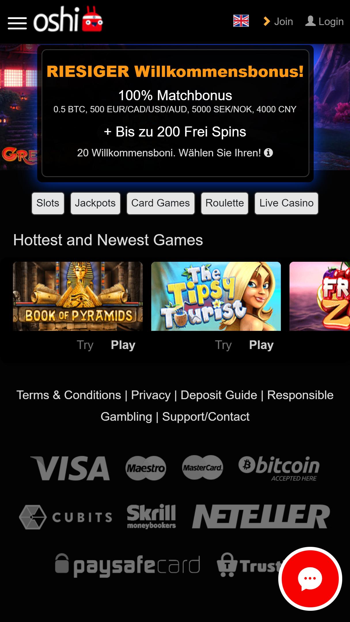 Oshi Casino App Homepage