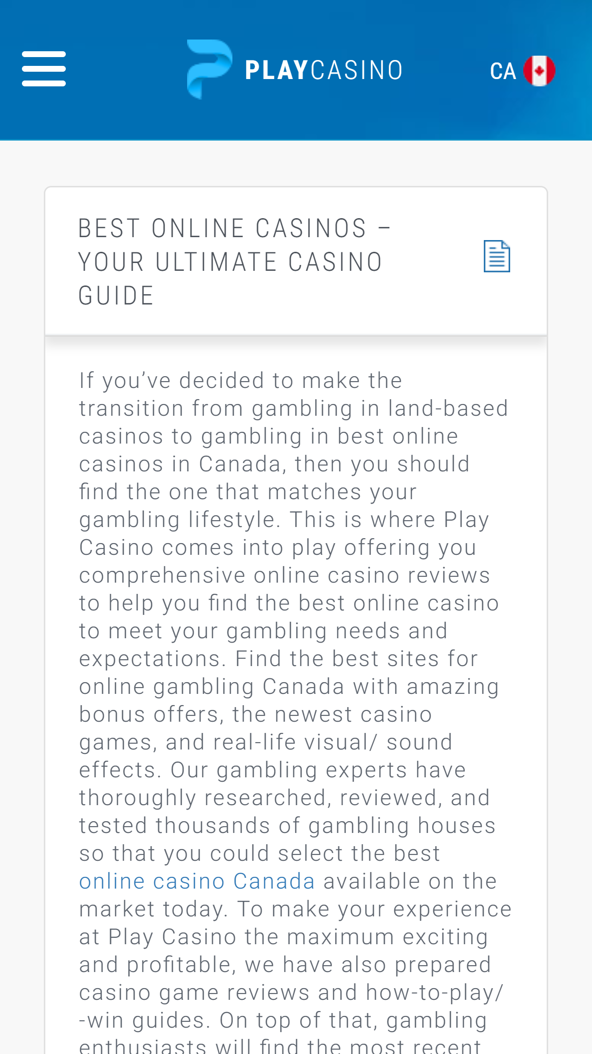 Play.casino App Homepage