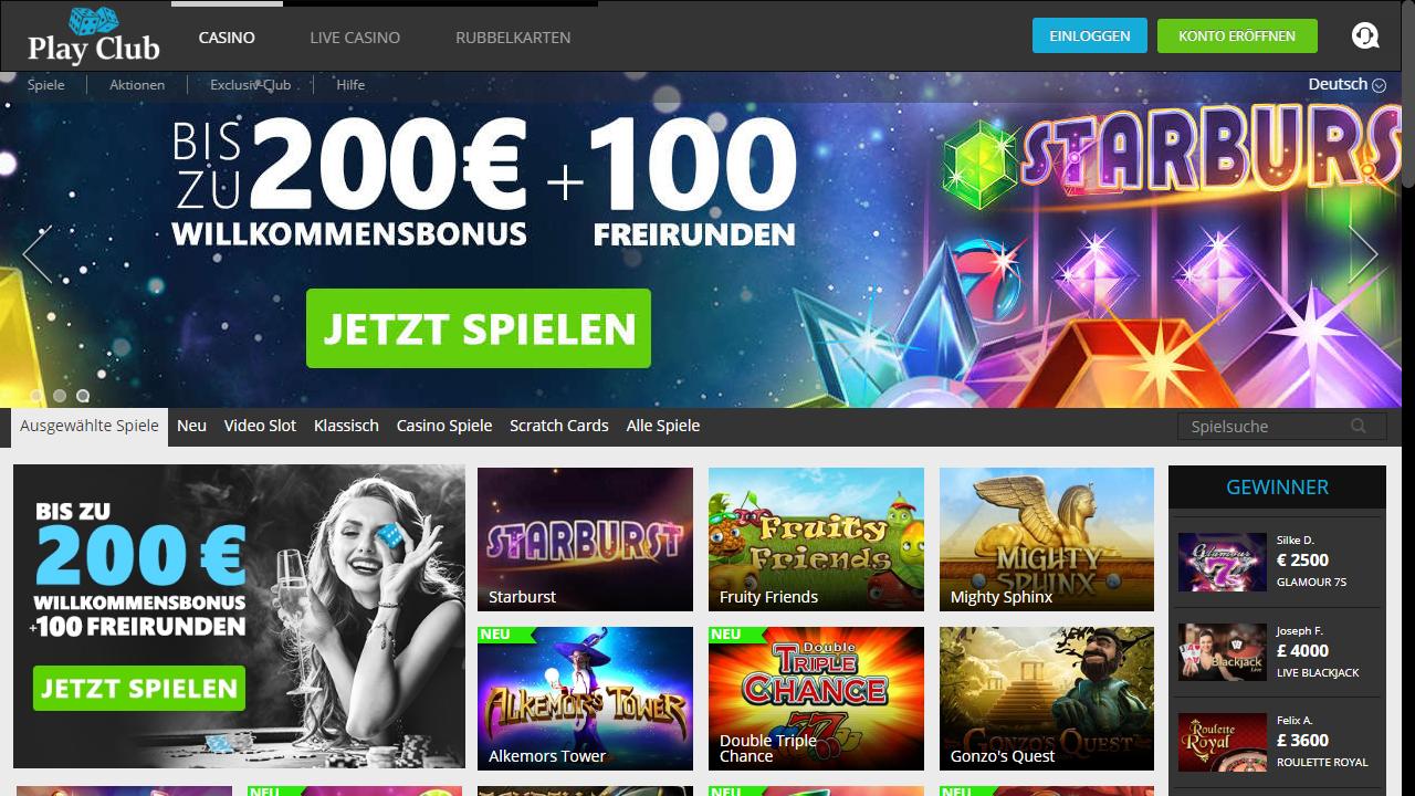 PlayClub Homepage