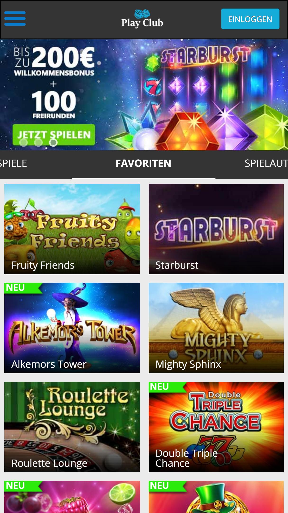 PlayClub App Homepage
