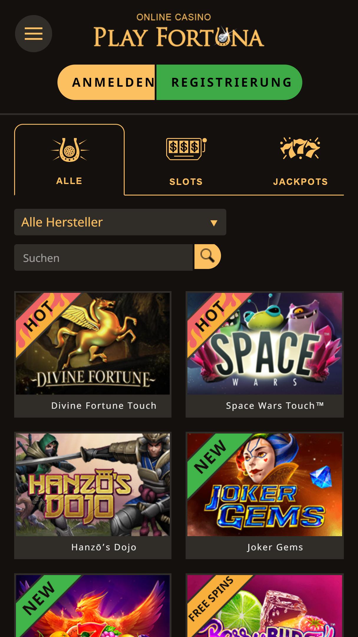 Playfortuna App Homepage
