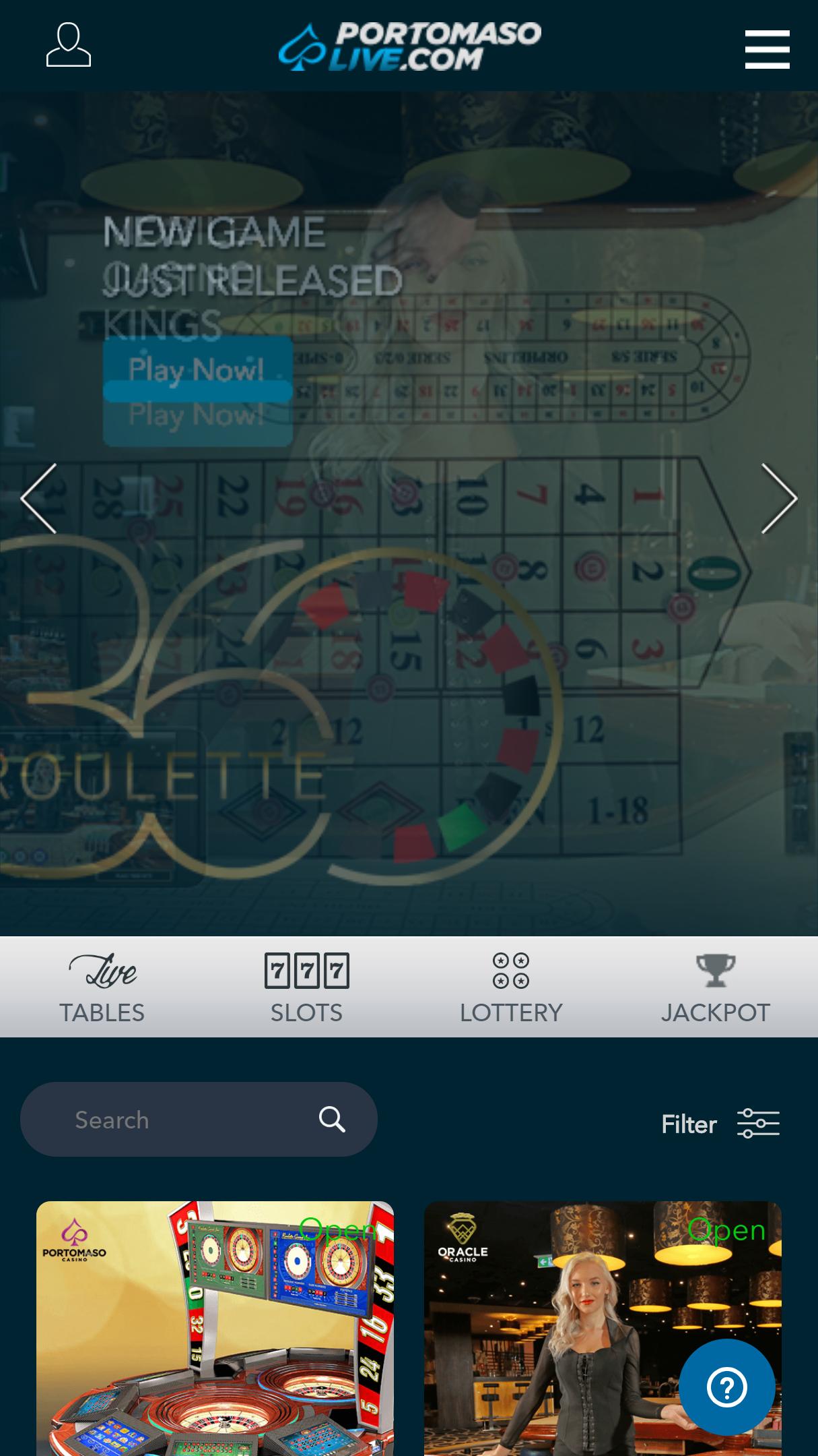 Portomaso Live App Homepage