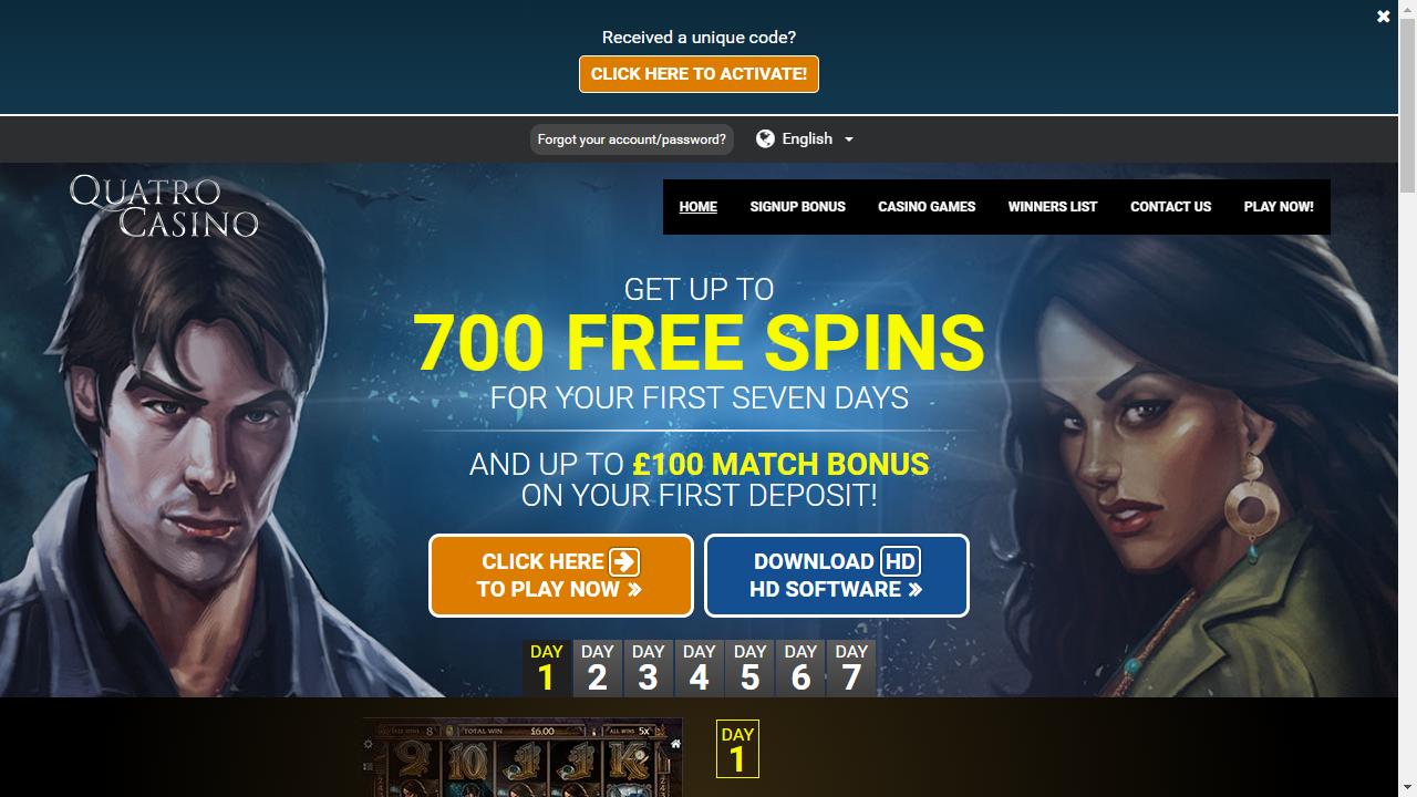 Quatro Casino Homepage