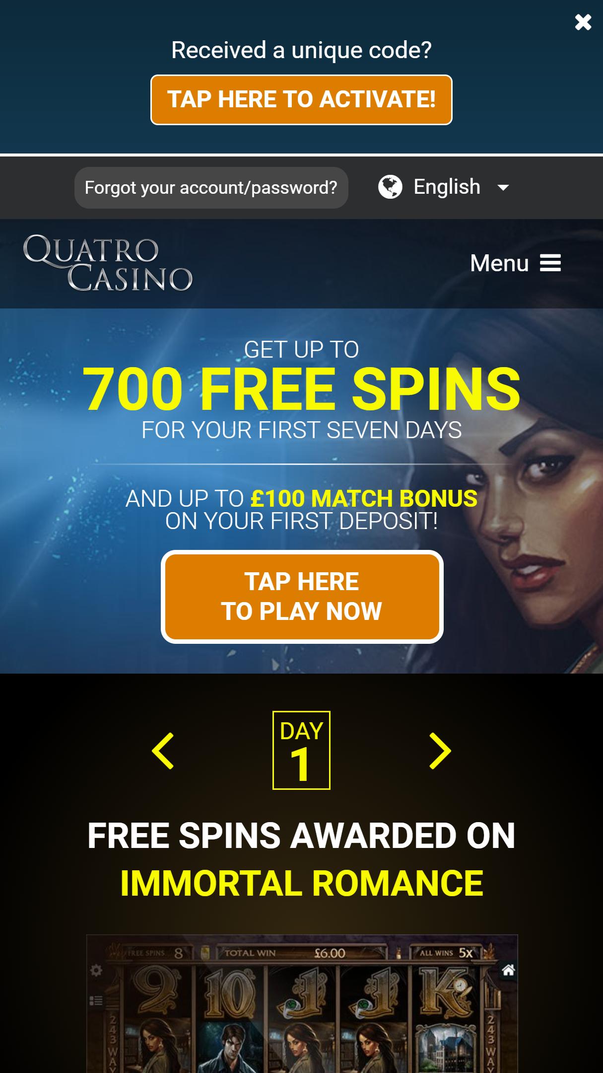 Quatro Casino App Homepage