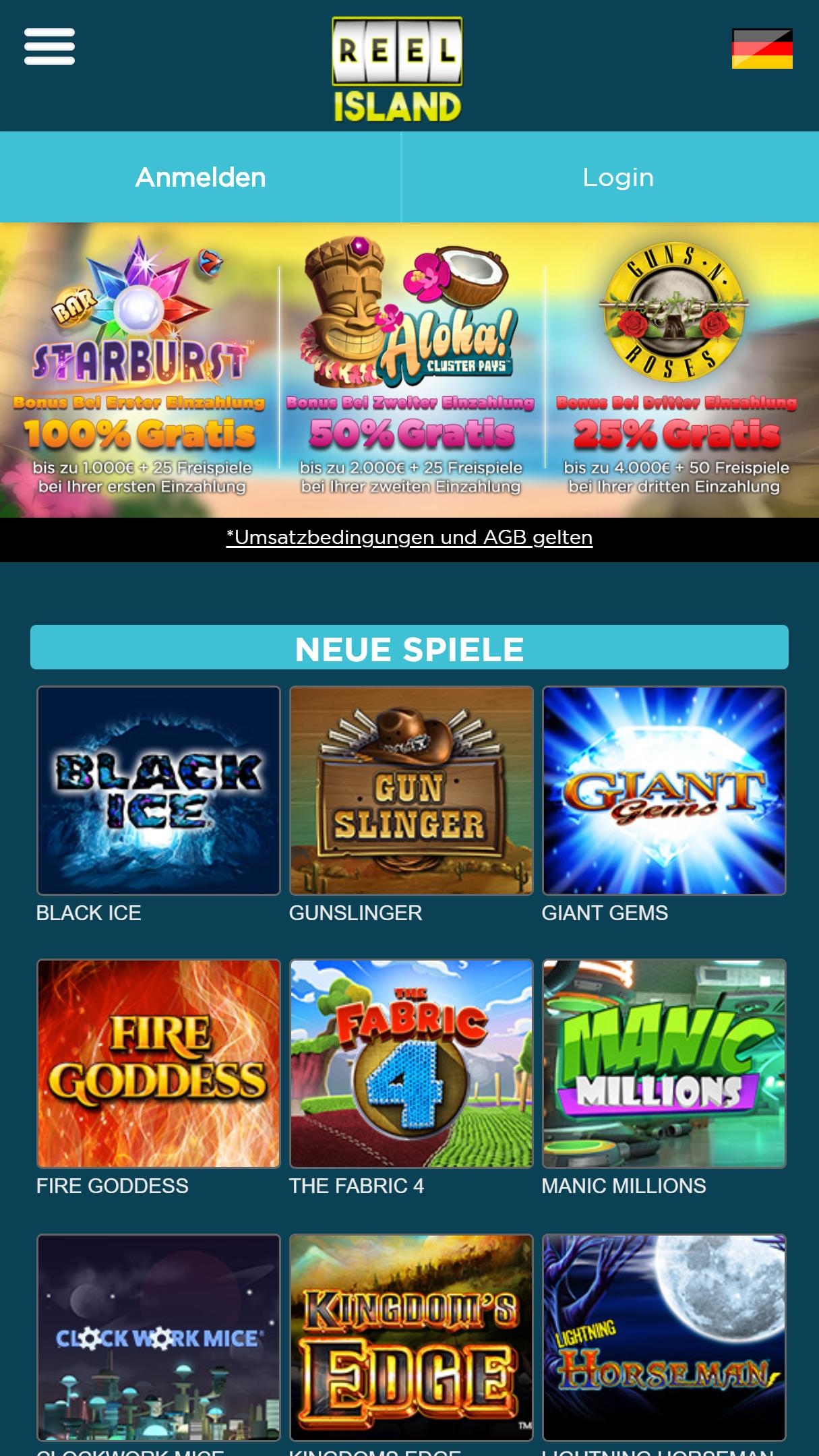Reel Island Casino App Homepage