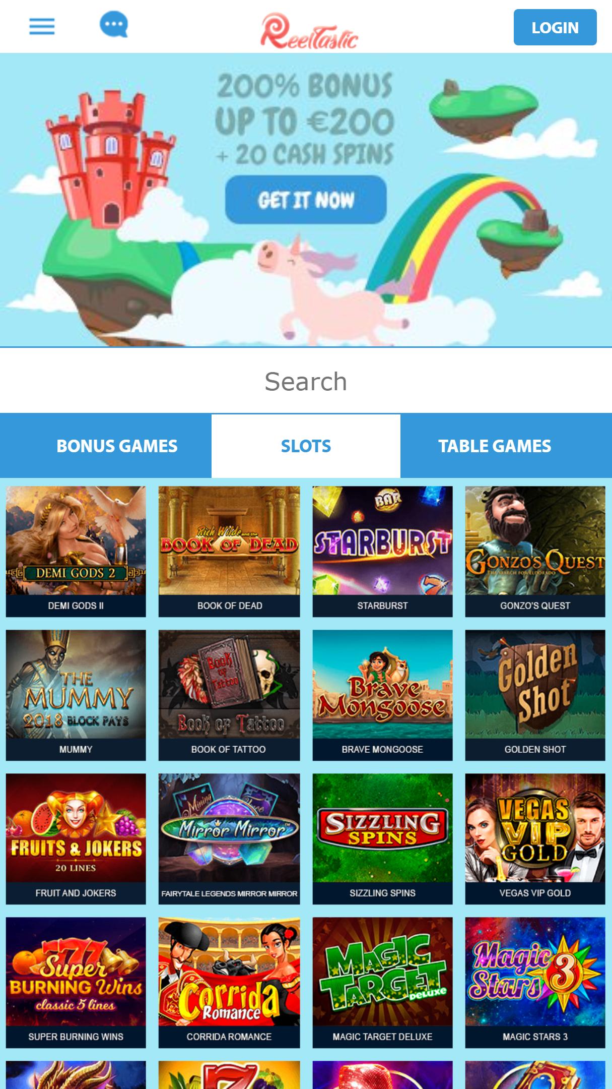 Reeltastic App Homepage