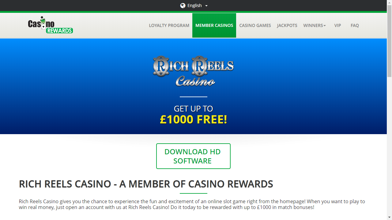 Rich Reels Casino Homepage