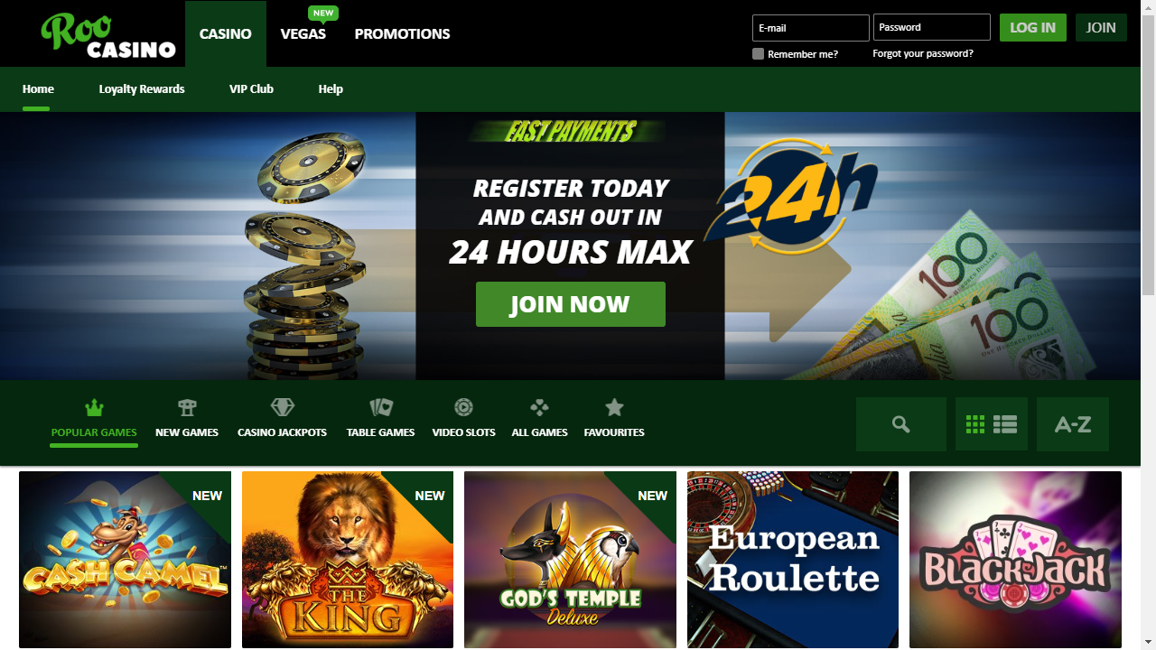 Roo Casino Homepage