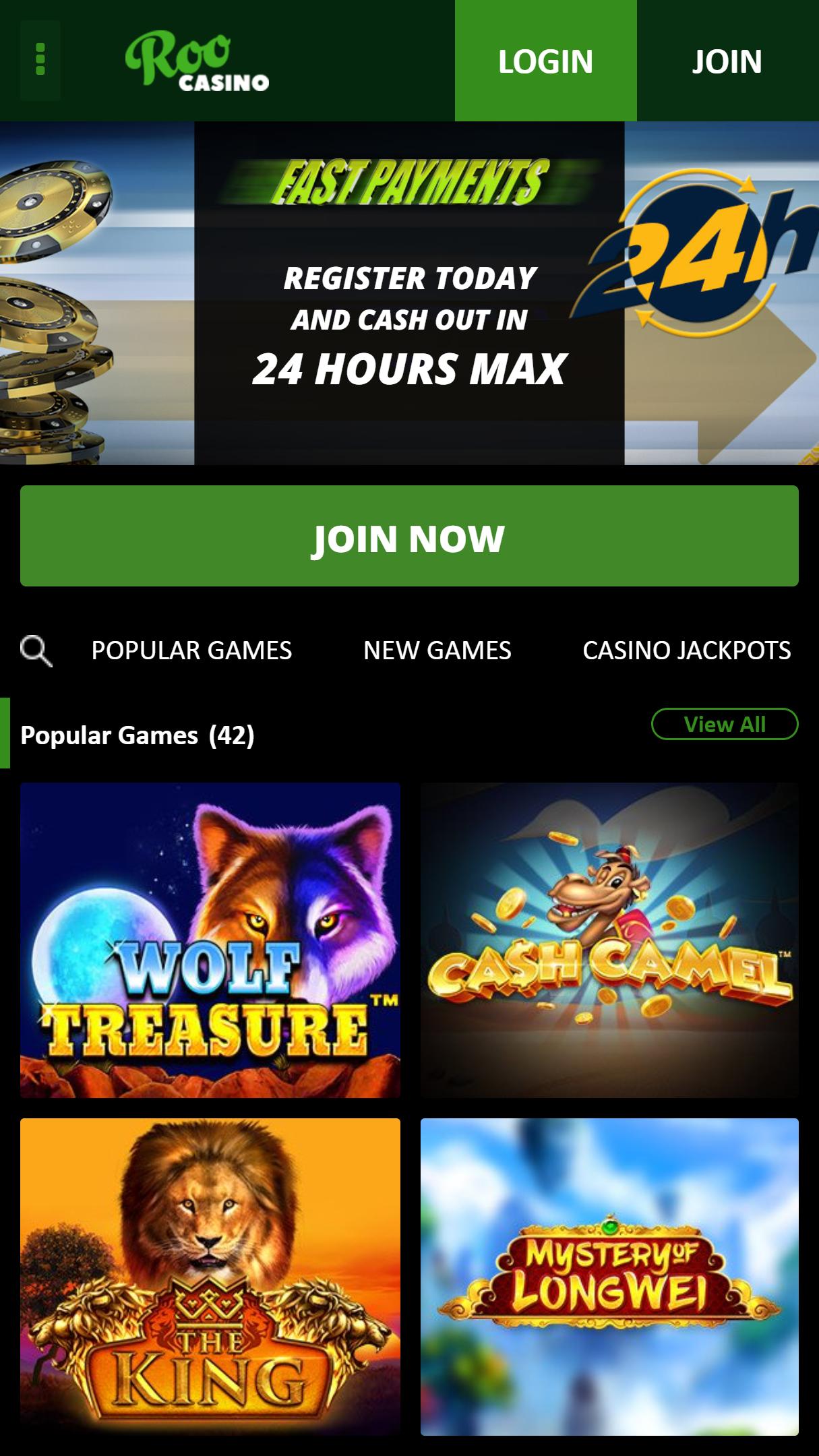 Roo Casino App Homepage