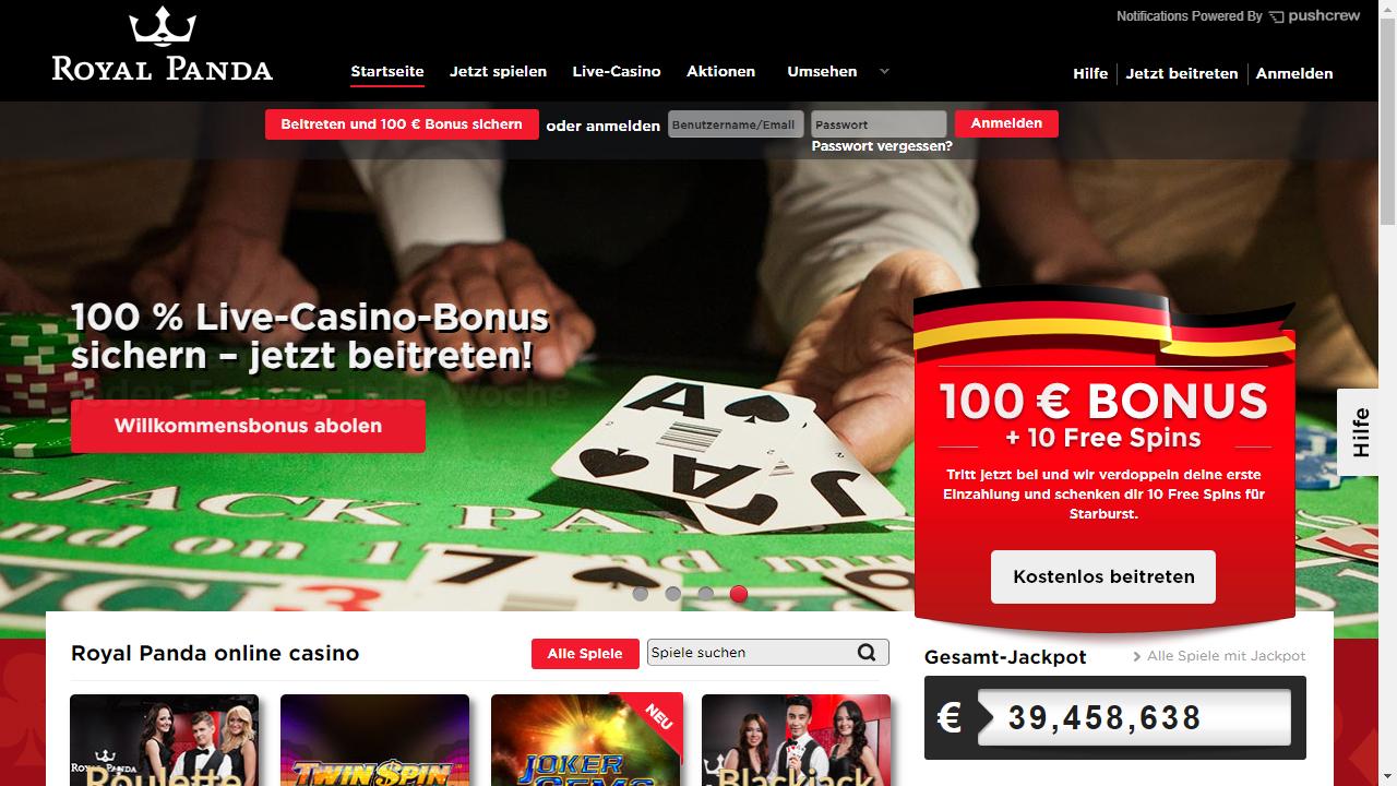 Royal Panda Casino App Homepage