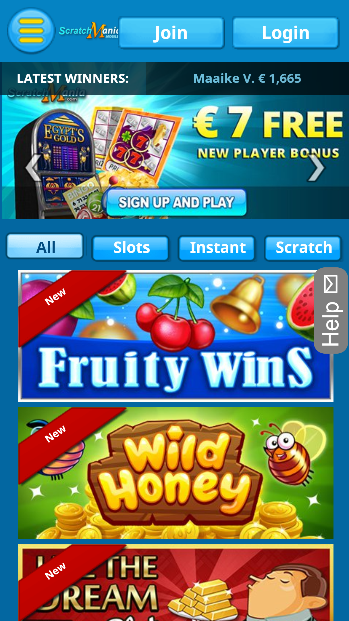 ScratchMania Casino App Homepage