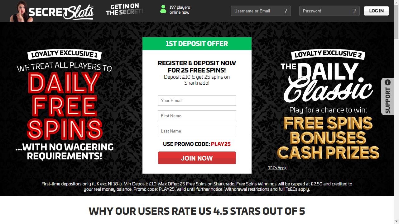 Secret Slots Homepage
