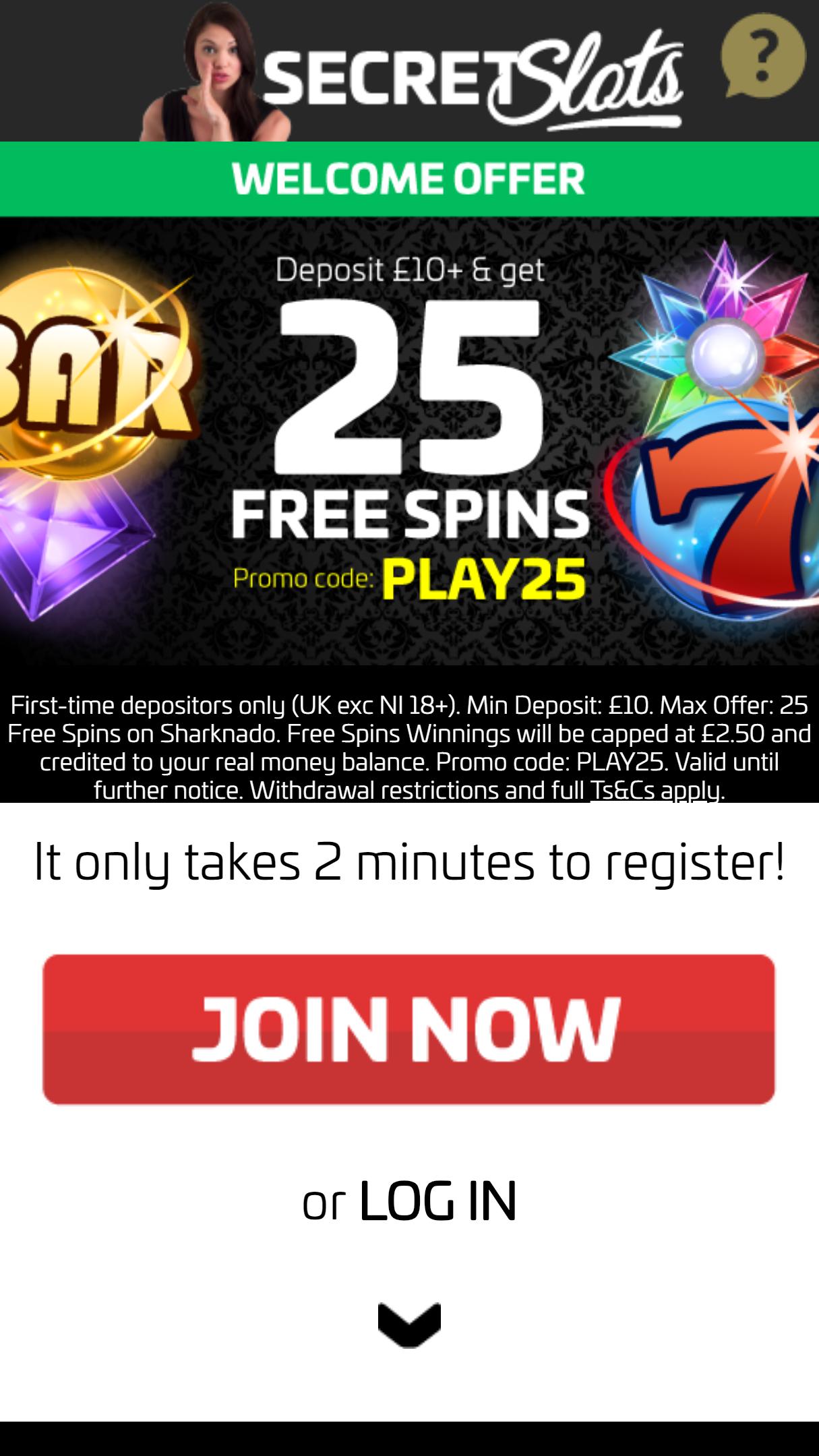 Secret Slots App Homepage