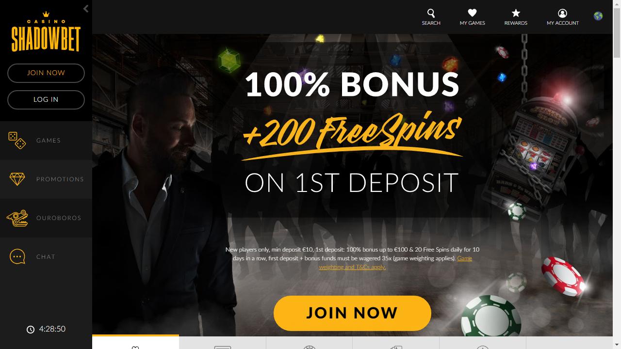 Shadow Bet Homepage