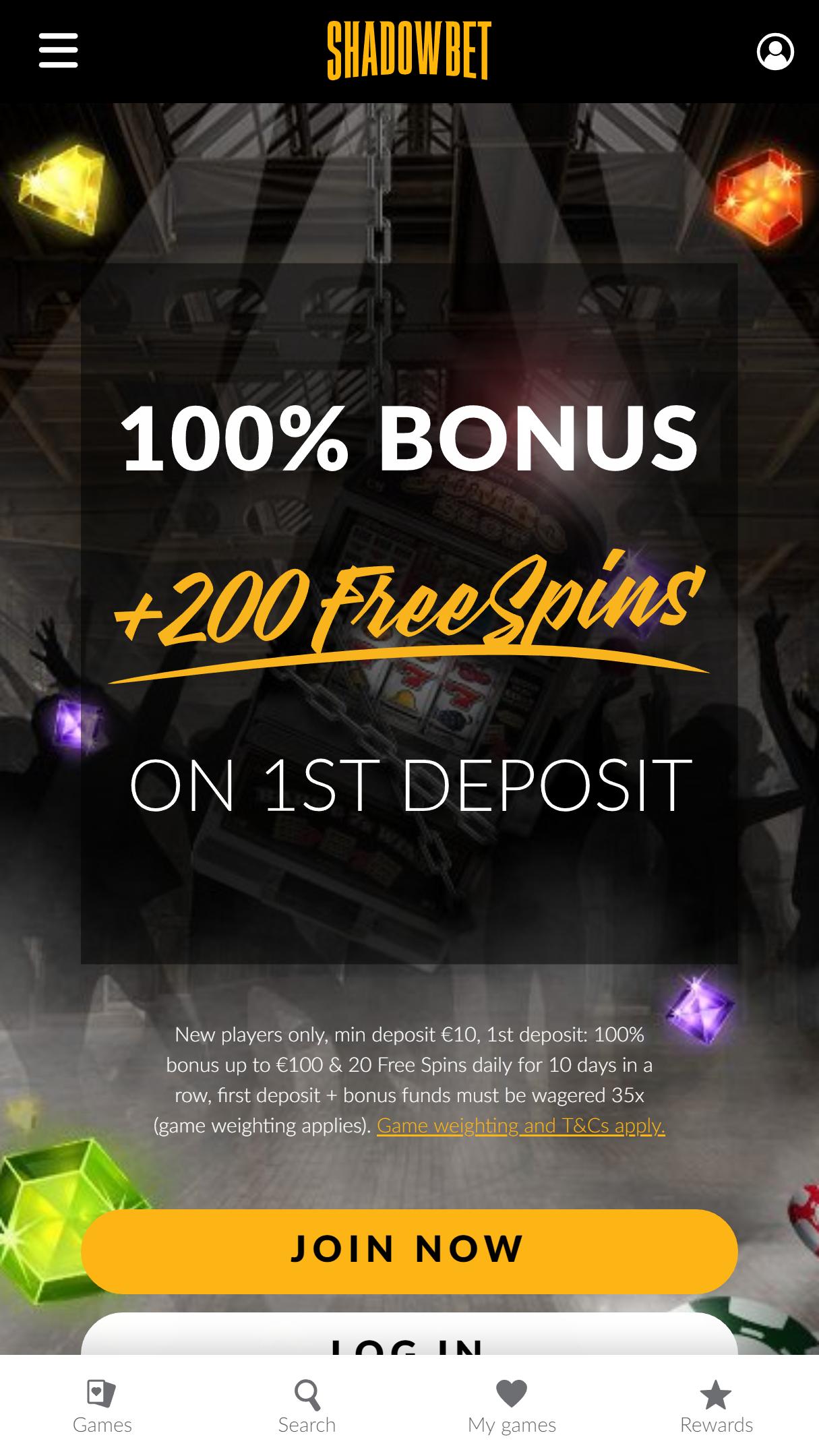 Shadow Bet App Homepage