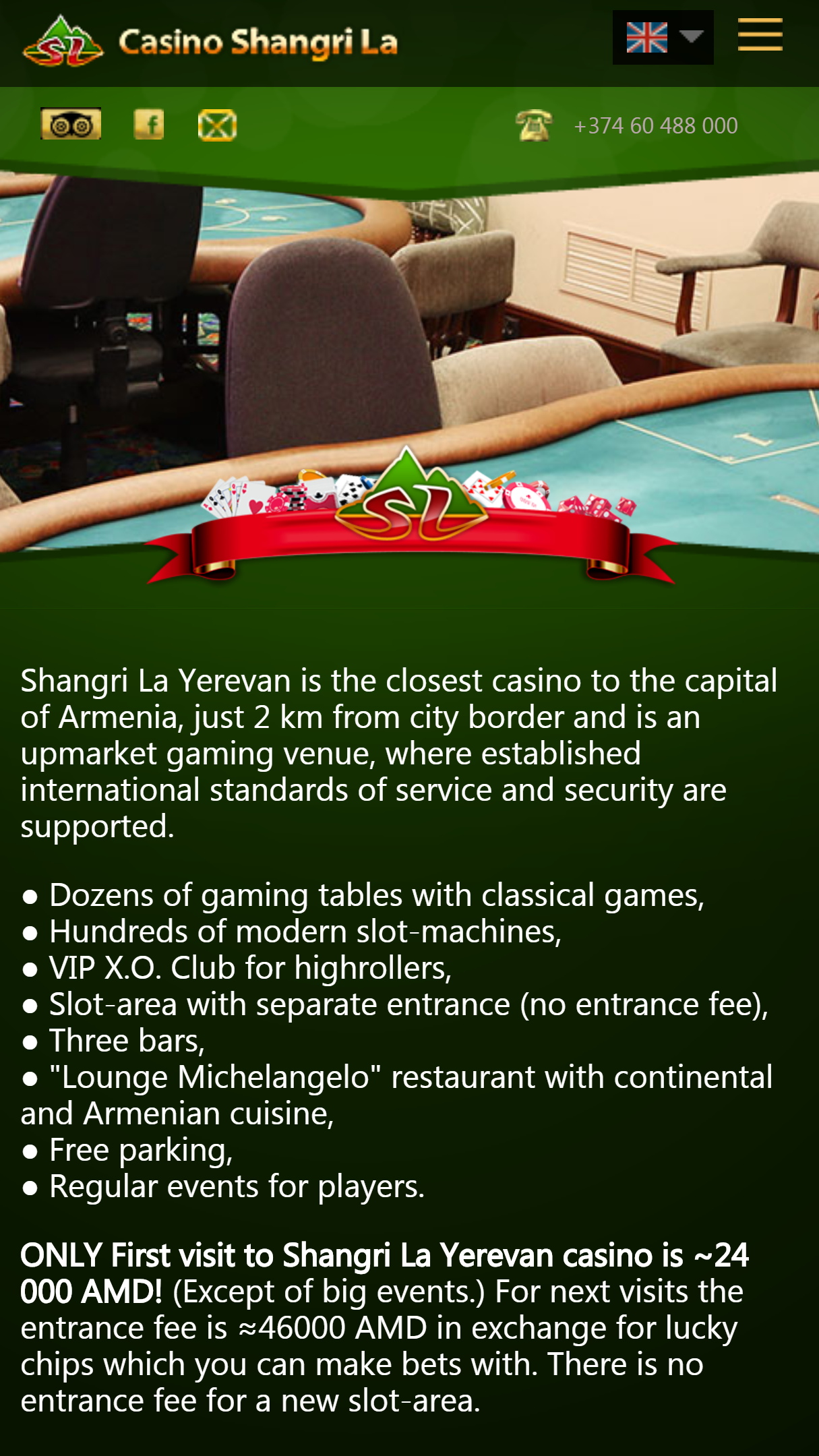 Shangri La Casino App Homepage
