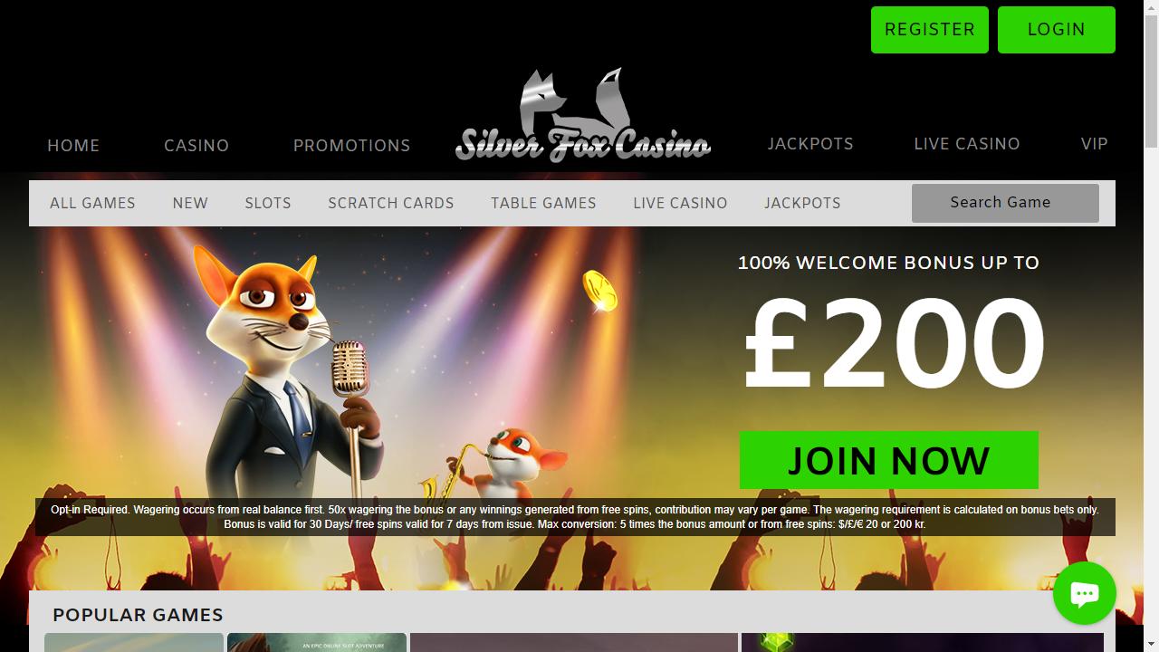 Silver Fox Casino Homepage