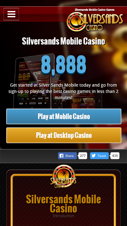 Silversands Casino App Homepage