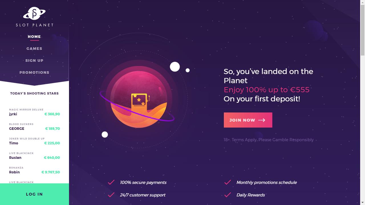 Slot Planet Homepage