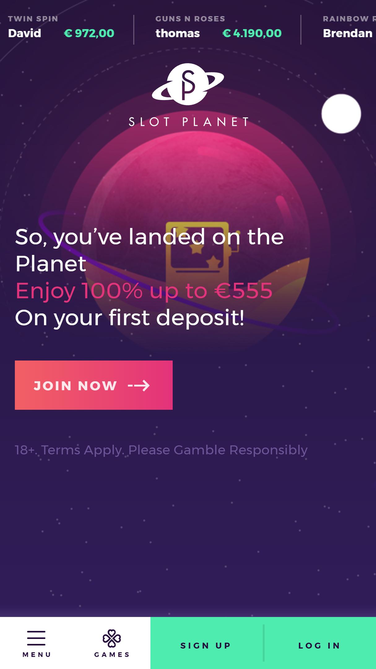 Slot Planet App Homepage
