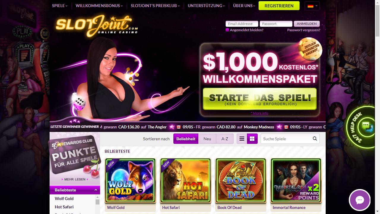 SlotJoint Casino Homepage