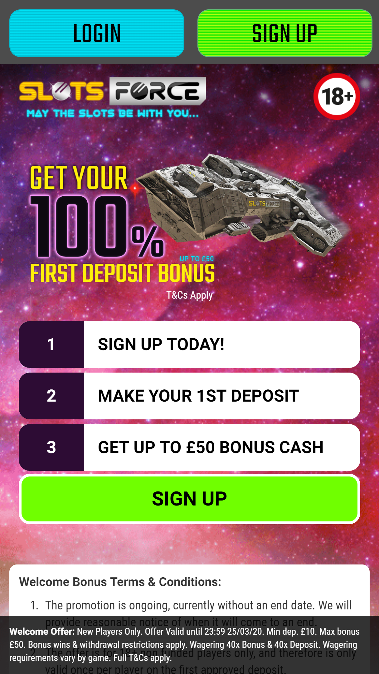 Slots Force App Homepage