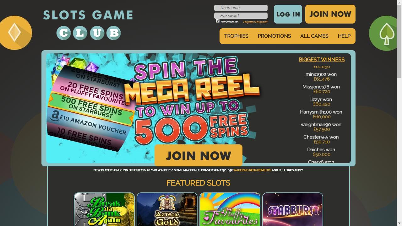 Slots Game Club Homepage