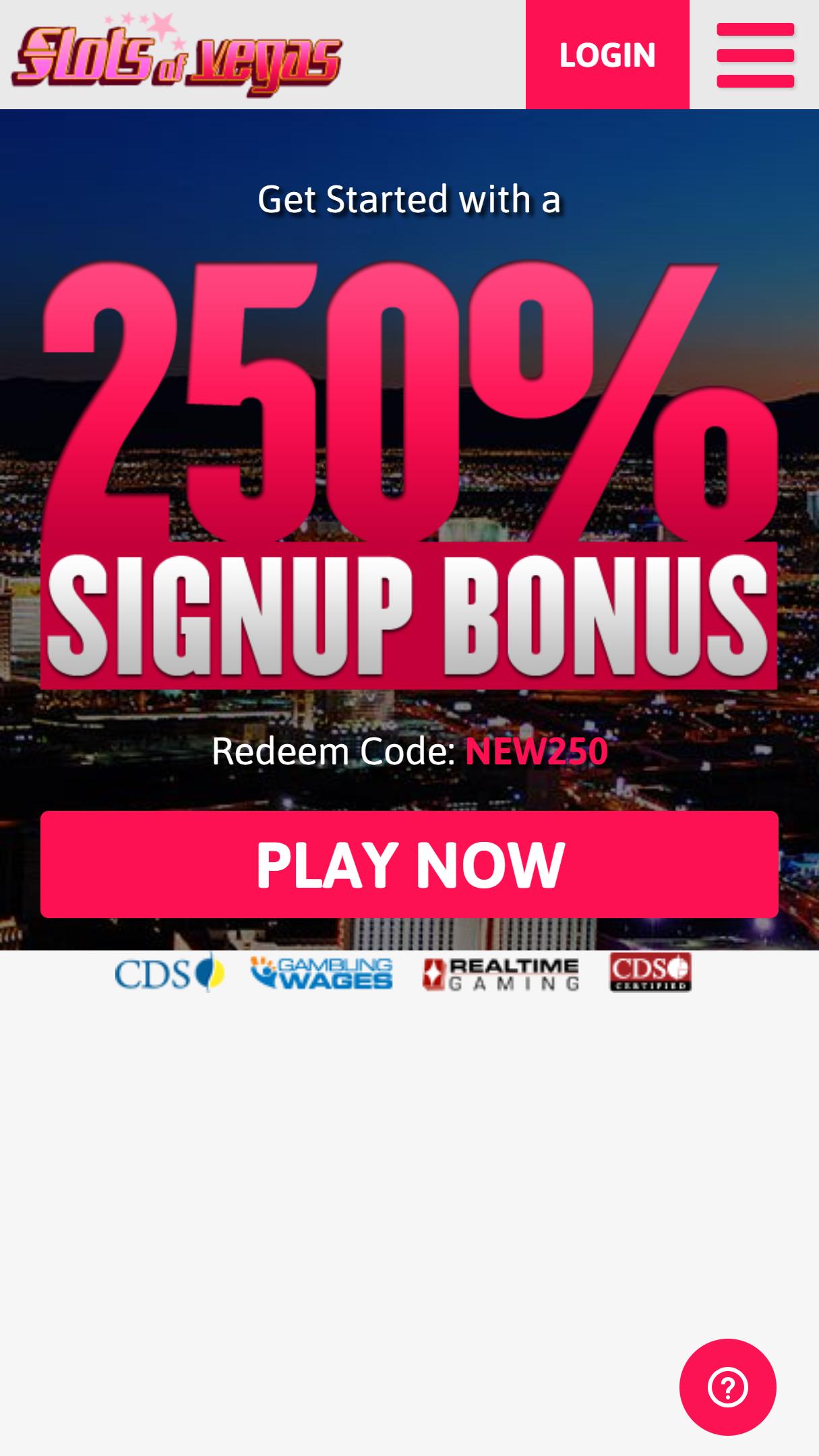 Slots Of Vegas App Homepage