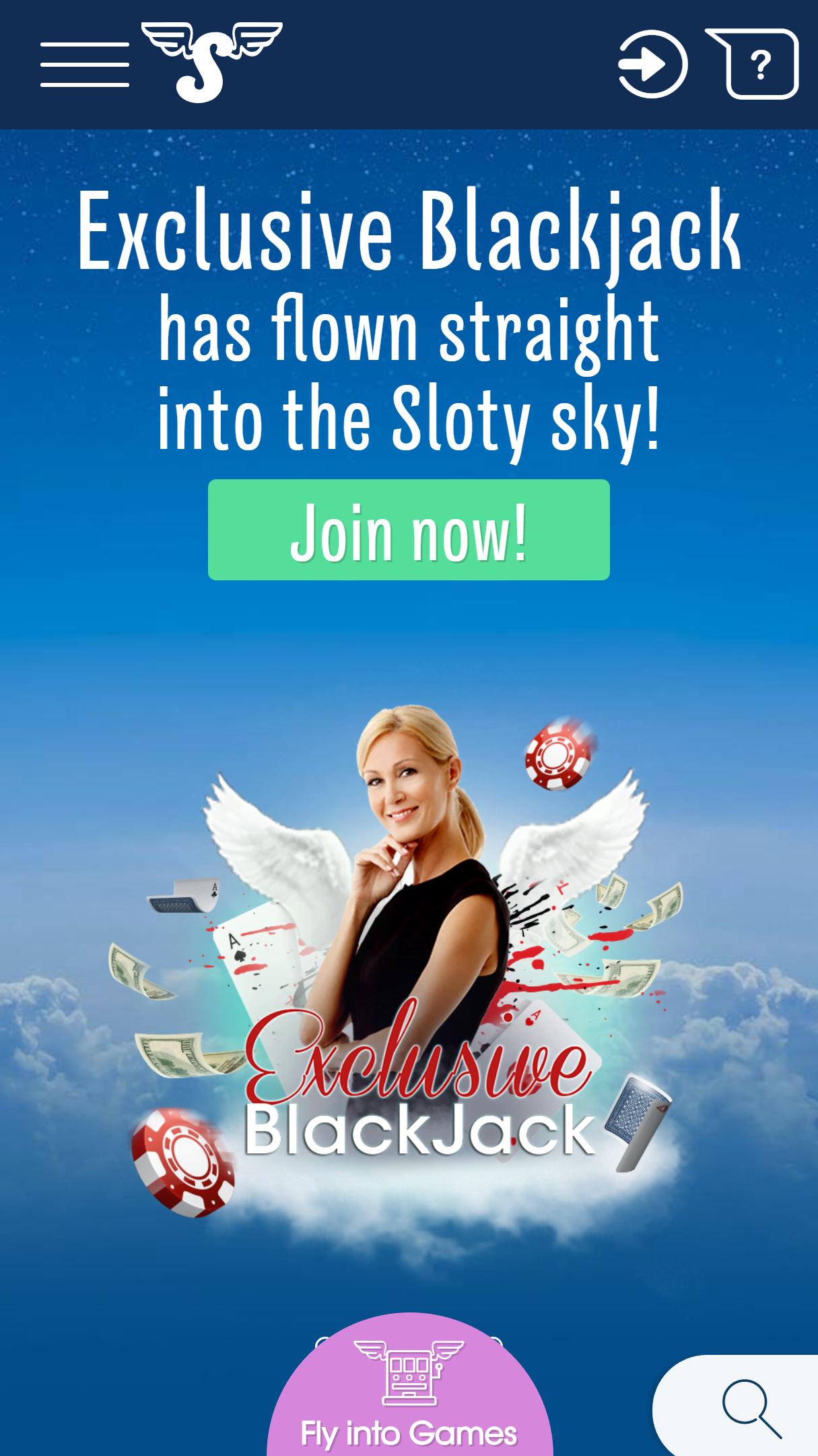 Sloty App Homepage