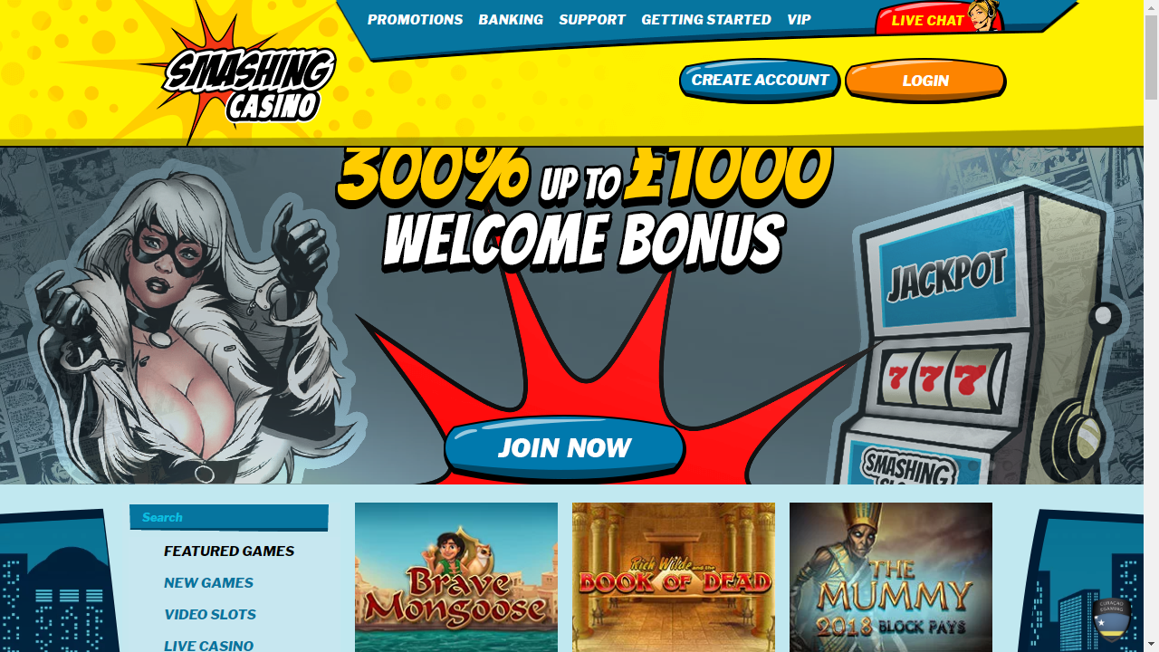 Smashing Casino Homepage