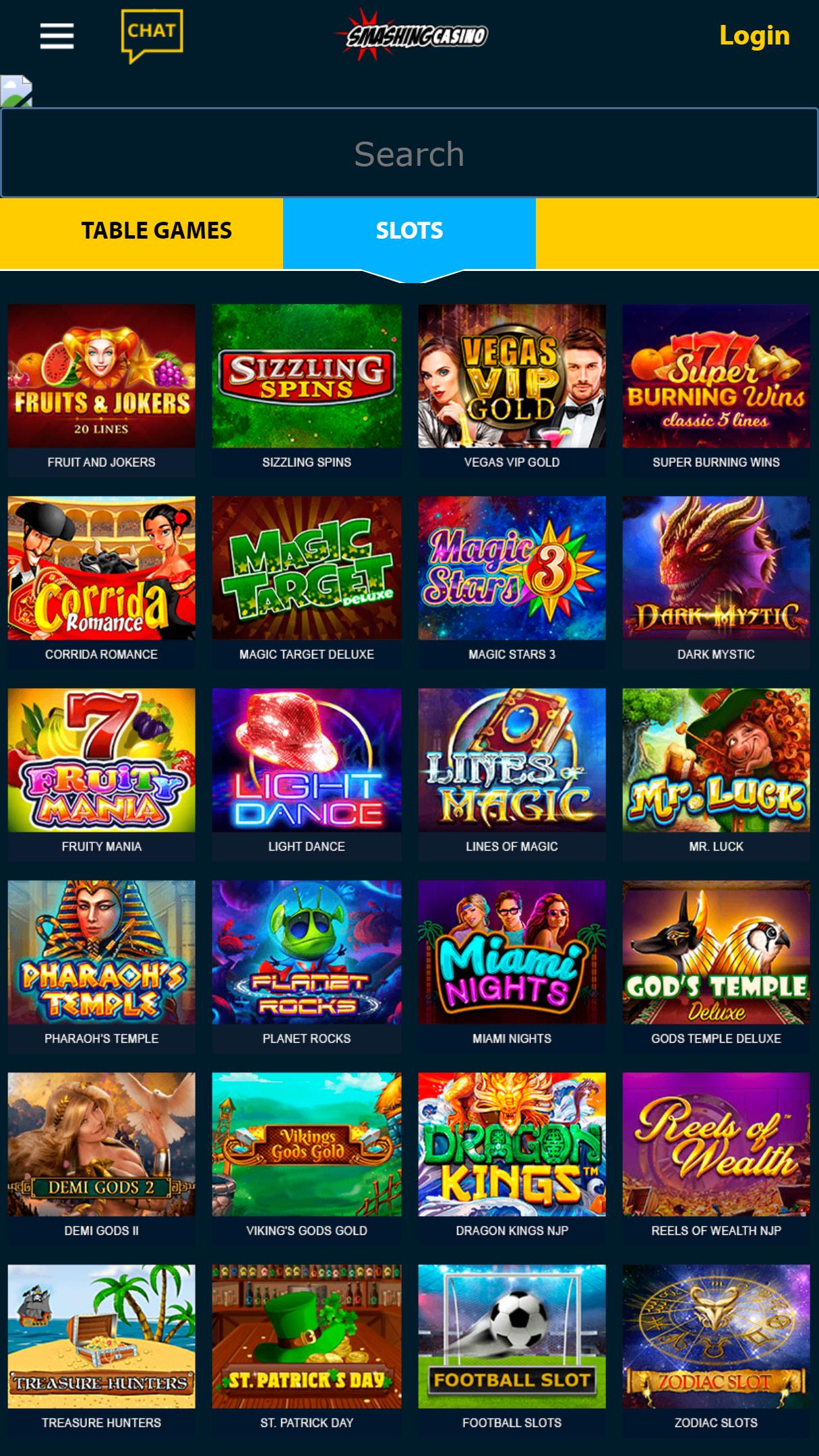 Smashing Casino App Homepage