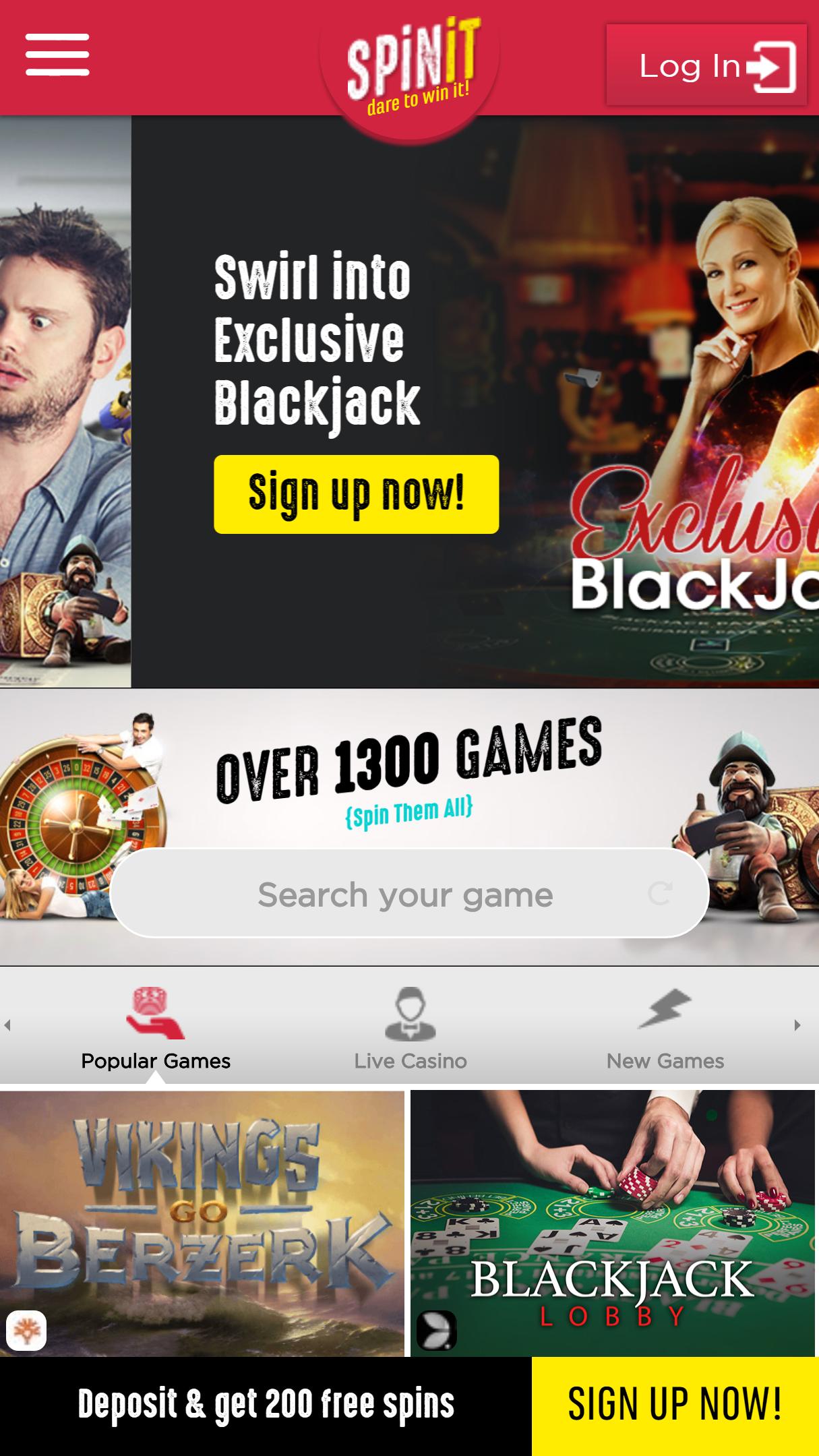 SpinIt Casino App Homepage