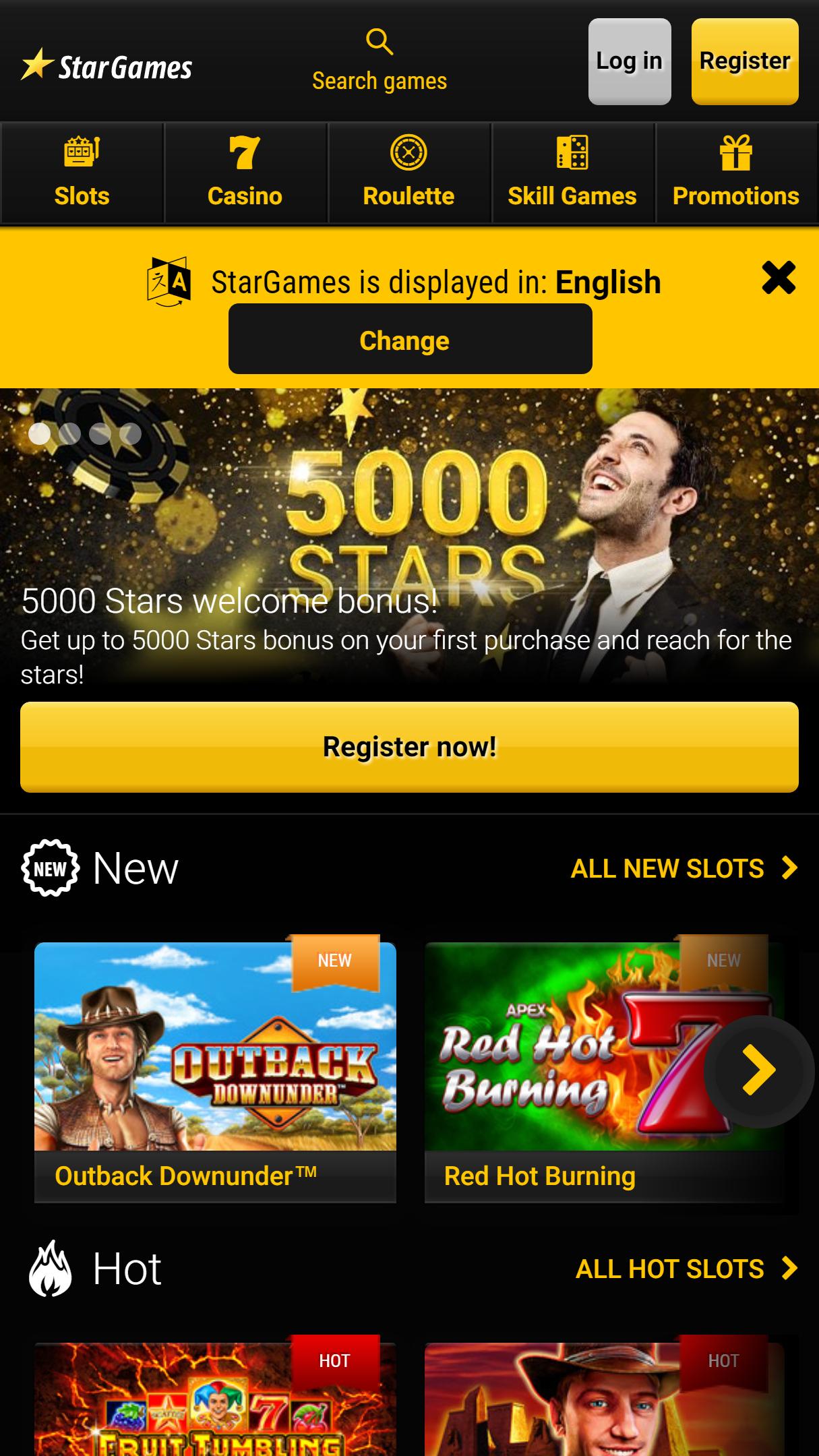 Stargames App Homepage