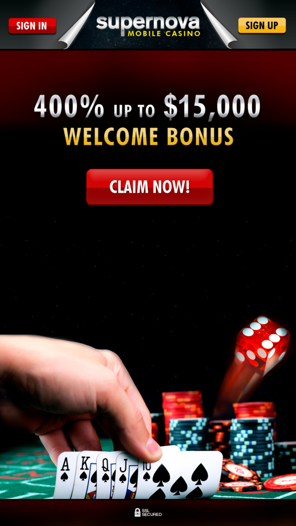 Supernova Casino App Homepage
