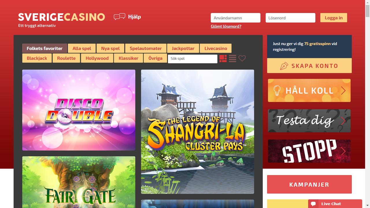 Sverige Casino Homepage