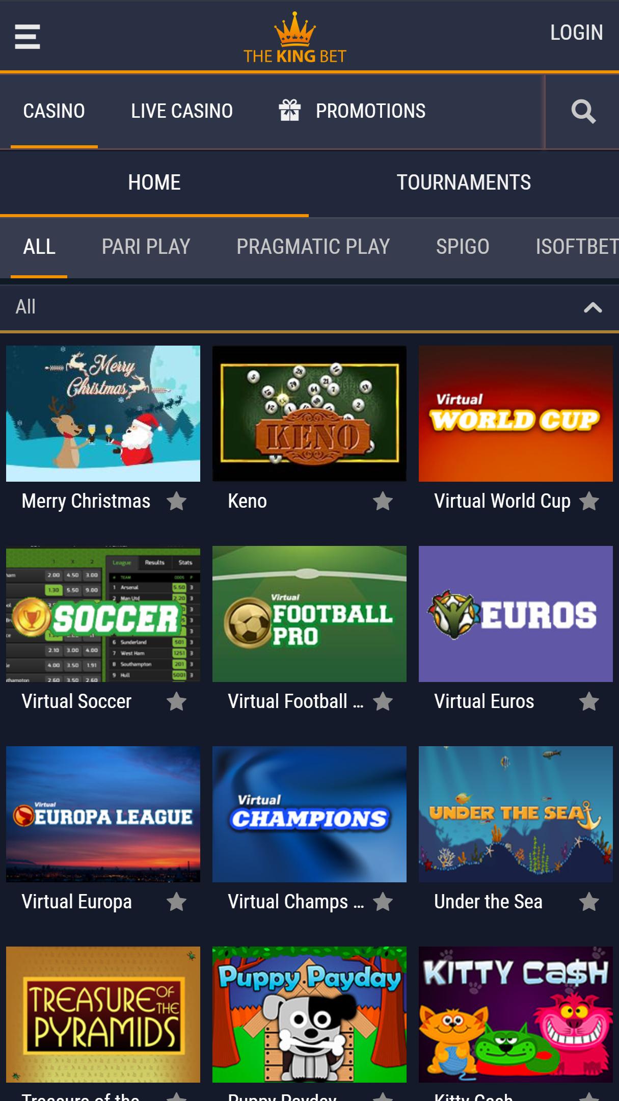 TheKingBet App Homepage