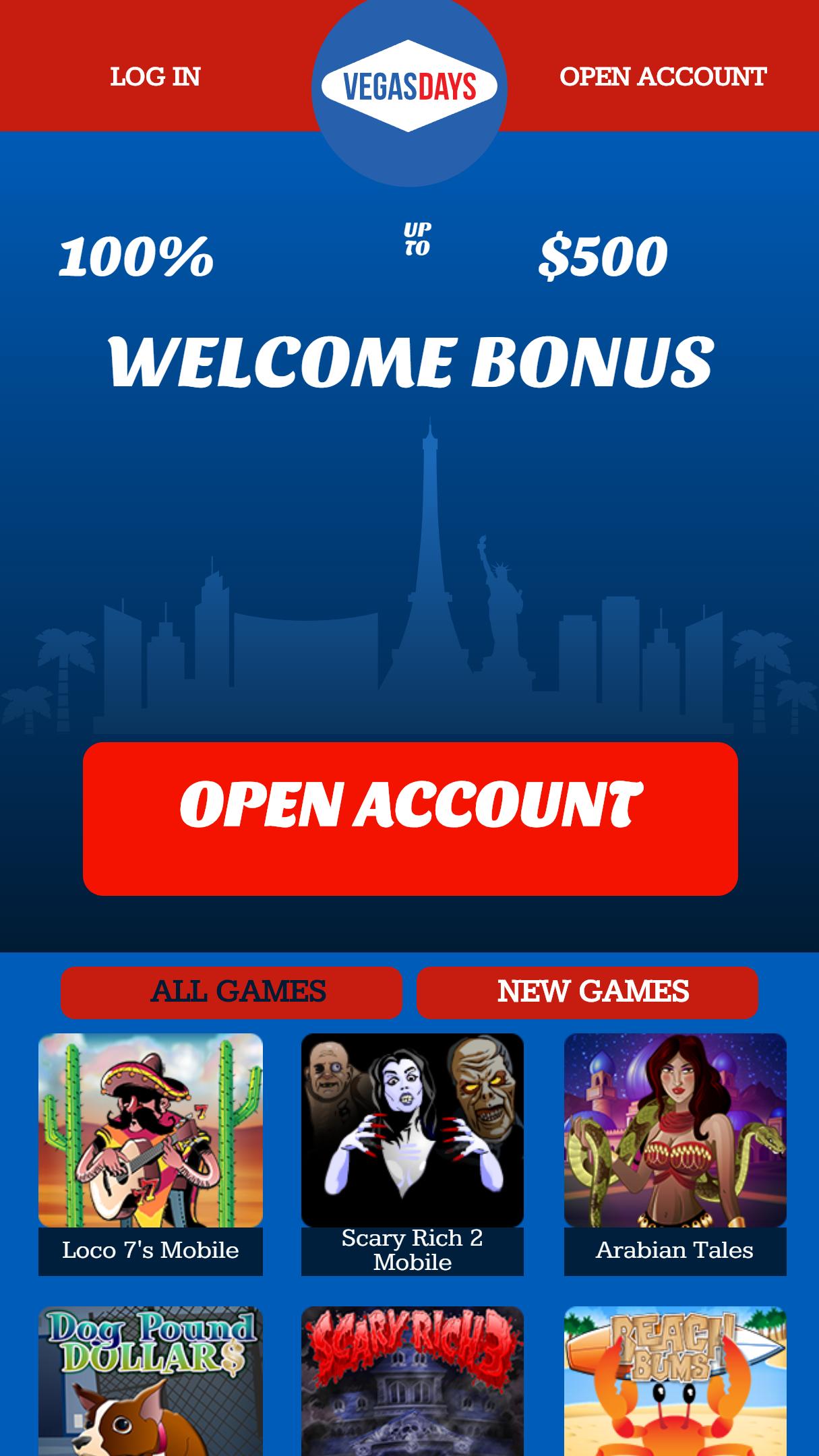 Vegas Days App Homepage