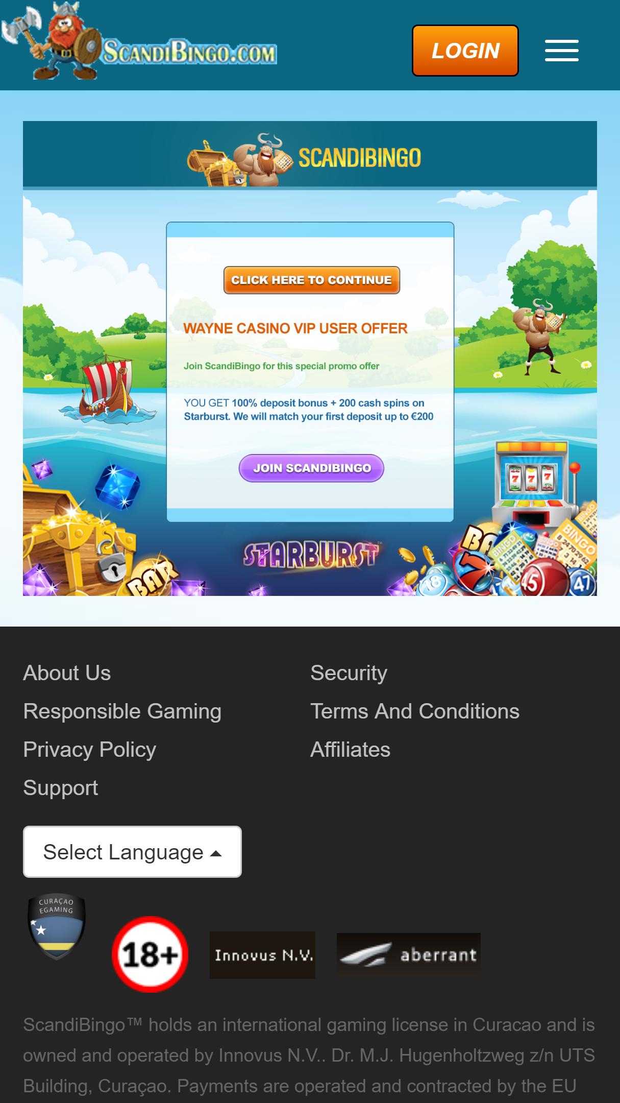 Wayne Casino App Homepage