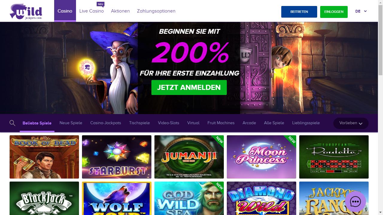 Wild Jackpots Casino Homepage