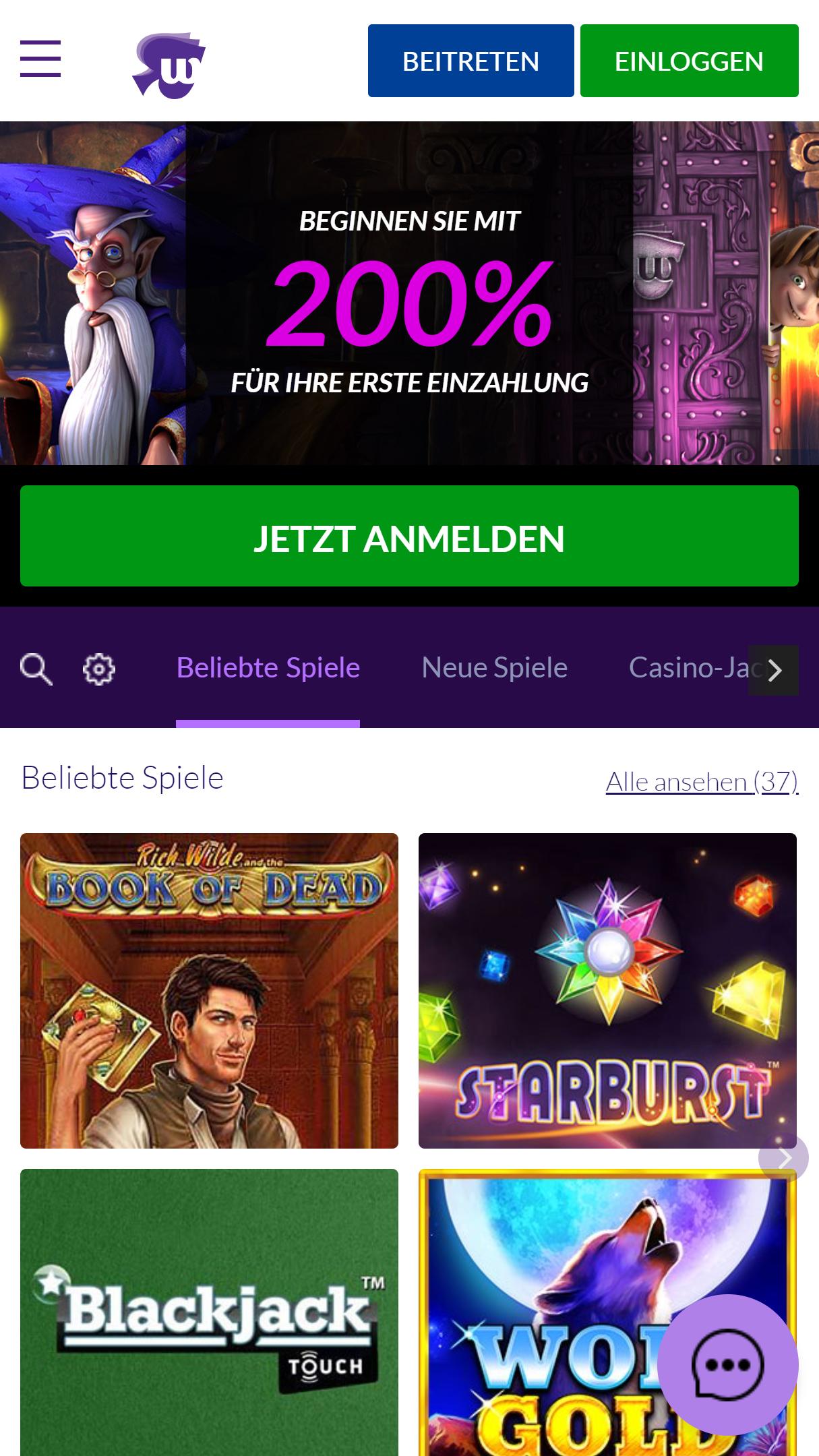 Wild Jackpots Casino App Homepage