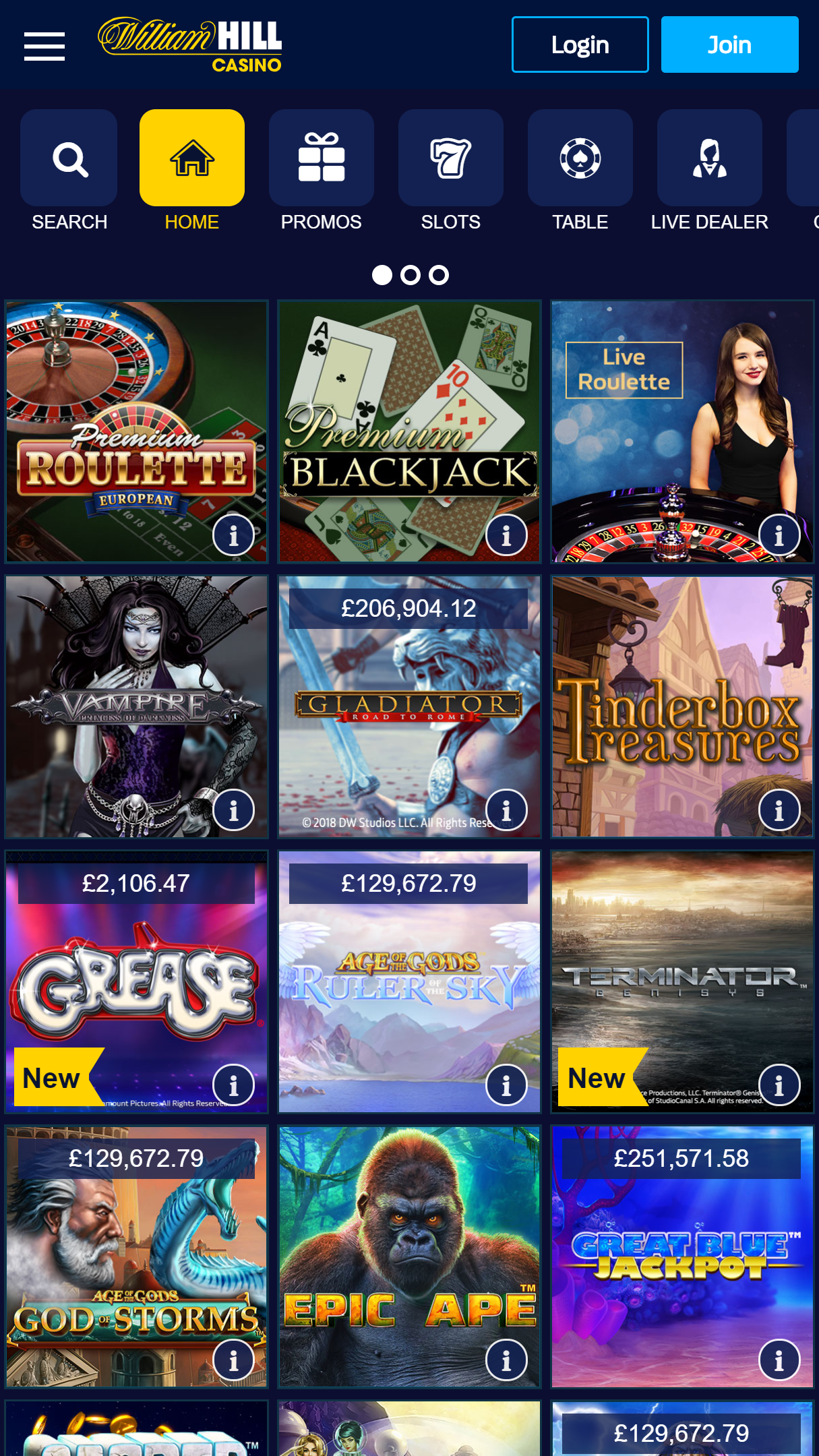 William Hill Casino App Homepage