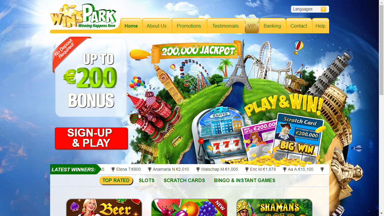 WinsPark Casino Homepage