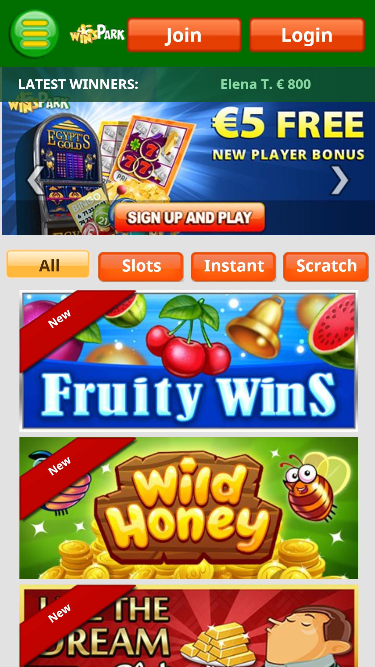 WinsPark Casino App Homepage
