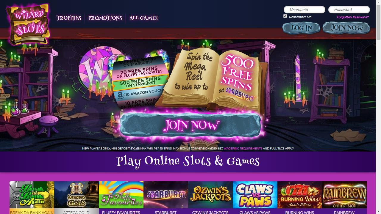 Wizard Slots Homepage