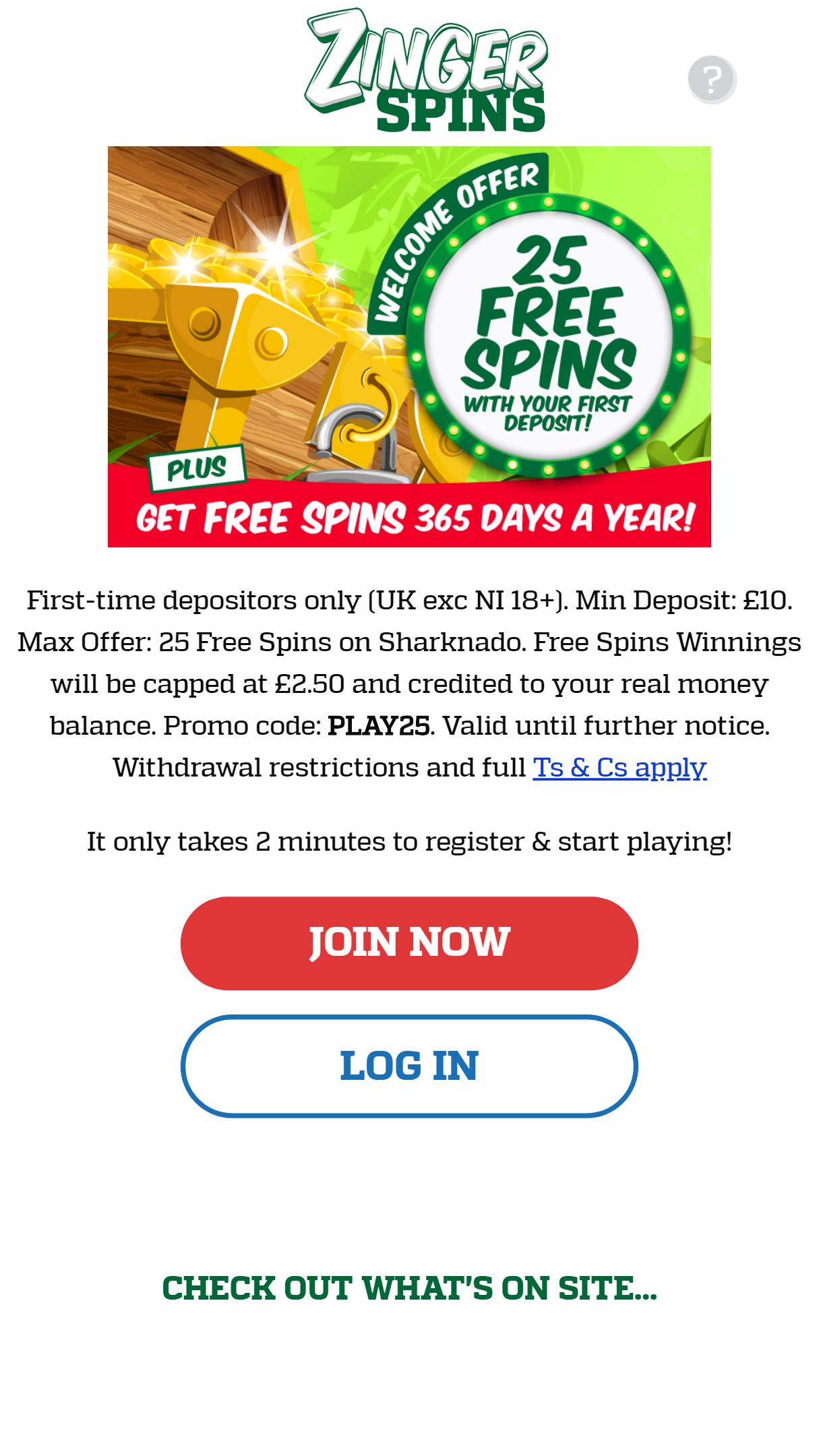 Zinger Spins App Homepage